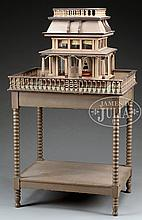 VICTORIAN HOUSE MODEL ON STAND WITH DOLL CAROUSEL.