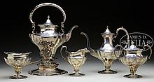 5 PIECE GORHAM STERLING SILVER TEA AND COFFEE SERVICE.