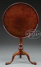 QUEEN ANNE MAHOGANY TILT TOP TEA TABLE WITH CARVED DISH TOP.