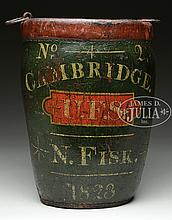 19TH CENTURY LEATHER FIRE BUCKET DATED 1823, CAMBRIDGE N. FISK.