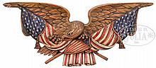 LARGE DISPLAYED EAGLE AND FLAG CARVED WOOD PLAQUE.