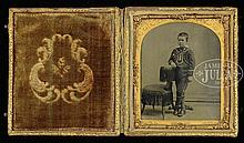 CASED TINTYPE OF CHILD IN NAVAL STYLE COSTUME.
