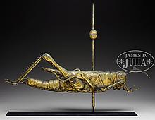IMPORTANT HOLLOW MOLDED COPPER GRASSHOPPER WEATHERVANE.