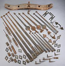 FINE LOT OF STRAP HINGES, DOOR HARDWARE, OX YOKE AND SHIP'S BELL.