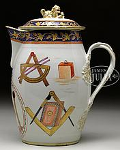 CHINESE EXPORT MASONIC PORCELAIN CIDER JUG.
