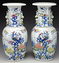 PAIR OF PORCELAIN VASES.