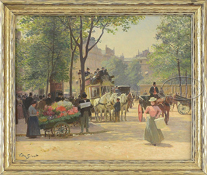 VICTOR GABRIEL GILBERT (French, 1847-1933) PARISIAN STREET SCENE WITH FLOWER VENDOR