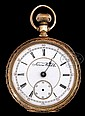 18K GOLD POCKET WATCH BY AURORA WATCH COMPANY.