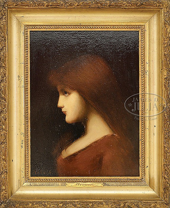 ATTRIBUTED TO JEAN-JACQUES HENNER (French, 1829-1905) GIRL WITH RED HAIR