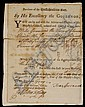 SMALL MASSACHUSETTS BAY COLONY DOCUMENT SIGNED BY GOVERNOR FRANCIS BERNARD