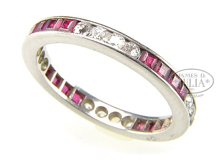 PLATINUM, DIAMOND & RUBY RING.