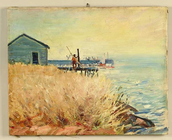 OIL ON CANVAS COASTAL SCENE BY CADWALLADER LINCOLN WASHBURN (1866-1965).