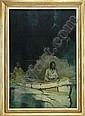 OIL ON CANVAS OF INDIANS IN CANOE BY FRANK EARLE SCHOONOVER  (1877-1972), Frank Earle Schoonover, Click for value