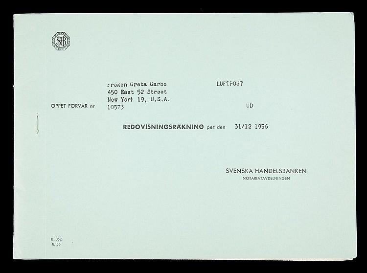 GRETA GARBO SWEDISH BANK STATEMENT FROM 1956