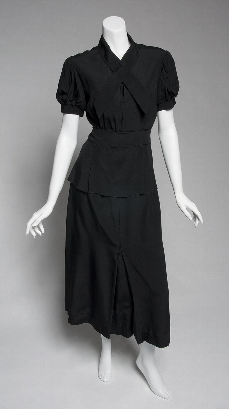 GRETA GARBO 1940s BLACK RAYON DRESS