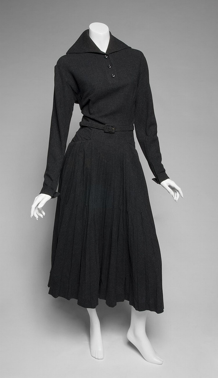 GRETA GARBO GRAY WOOL DRESS