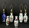 6 PC ASIAN CERAMIC LOT 4 LAMPS 2 VASES