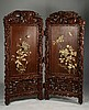 CARVED 2-PANEL CHINESE HARDWOOD SCREEN  FLORAL