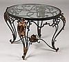 CIRCULAR FORM FRENCH IRON GLASS COFFEE TABLE