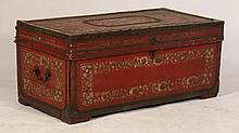 19TH C CAMPHORWOOD CHINESE EXPORT TRAVELING TRUNK