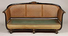 19TH C. ADAMS STYLE PAINTED & CANED SOFA