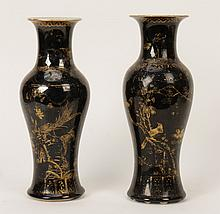 PR UNIQUE 19TH CEN. GLAZED CHINESE VASES SIGNED