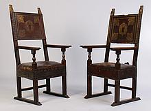 19TH CENT. ITALIAN CARVED WALNUT ARM CHAIRS