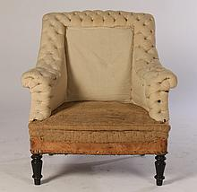 NAPOLEON III LIBRARY CHAIR TUFTED BACK C.1890