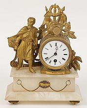 WHITE METAL 19TH C. FRENCH MANTLE CLOCK MALE