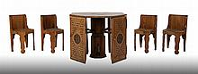 RARE AMERICAN OAK POKER TABLE 4 CHAIRS 1880