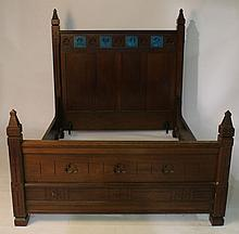 AMER. VICT GOTHIC WALNUT BED INCISED CARVED 1875
