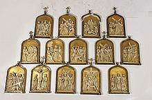 LOT OF 14 CAST PLASTER STATIONS OF THE CROSS 1910