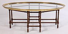 STYLIZED COFFEE TABLE BRASS GLASS OVAL TOP BAMBOO