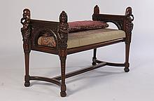 FIGURAL CARVED BENCH CARVED PUTTI 1910