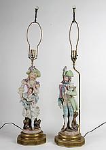 PR GERMAN BISQUE HANDPAINTED PORCELAIN LAMPS 1930
