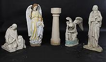 5 PC LOT RELIGIOUS ITEMS STATUES MARBLE BAPTISMAL