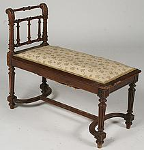 A FRENCH CARVED OAK BENCH FAUX BAMBOO C. 1900