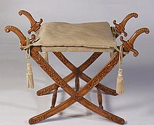 CAMPAIGN STYLE CARVED WOOD STOOL UPHOLSTERED 1960