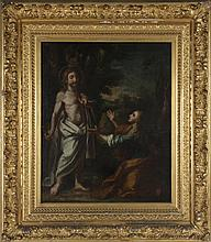 KNEELING BEFORE CHRIST ANTIQUE OIL ON CANVAS