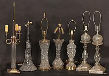 7 PC ANTIQUE CUT GLASS LAMPS PAIR 1920
