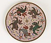 ANTIQUE CLOISONNE PLATE W/FOO DOGS CIRCA 1900