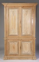 ANTIQUE 2 PART PINE CABINET W/ APPLIED CARVINGS
