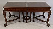 BANDED TOP WALNUT DINING TABLE CABRIOLE LEGS 1920
