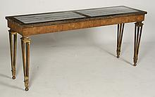 REGENCY STYLE CONSOLE TABLE MARBLE TOP WALNUT