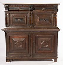 19TH C. ENGLISH ELIZABETHAN 2 PART OAK CABINET