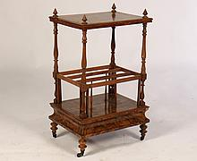 19TH C. ENGLISH BURLED WALNUT CANTERBURY