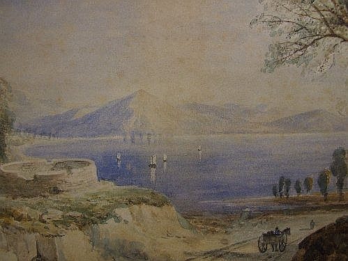 A watercolour JB Pyne, Continental Lake scene