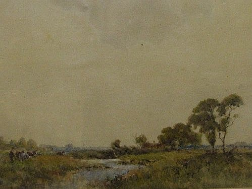 A watercolour John Fisher, Wallasey Marsh, signed