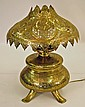 Orientalist Pierced Brass Footed Oil Lamp, C.1880