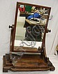 C19th Figured Mahogany Cheval Mirror with 4 scroll